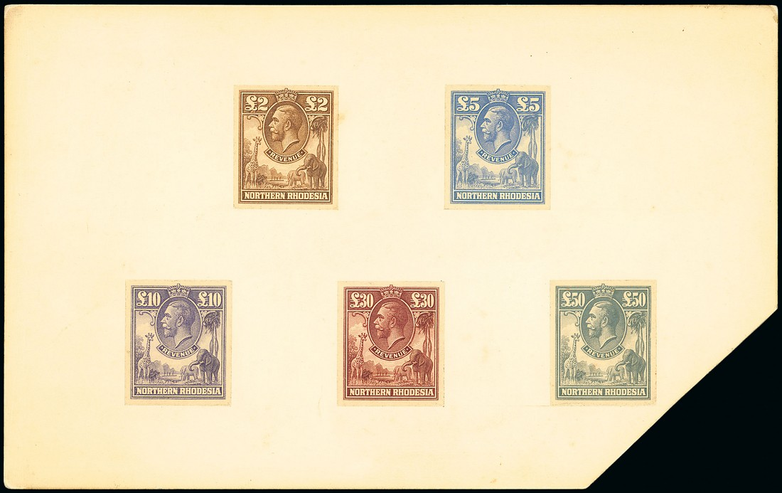 1925 £2 brown, £5 light blue, £10 lilac, £30 red-brown and £50 grey imperforate proofs in issued colours, mounted on board (202x126mm.). An exceptionally rare group.