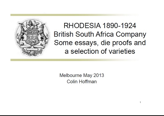 Rhodesia 1890-1924 BSAC Essays Proofs Varieties